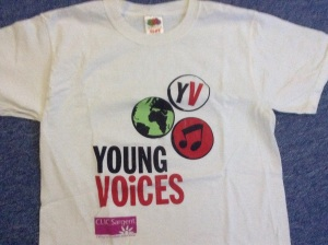 The t-shirt that Leah wore when performing with the Ballykelly School choir in the Odyssey Arena in Belfast. I don't remember noticing at the time that this was connected with the Clic Sargent Children's Cancer charity.