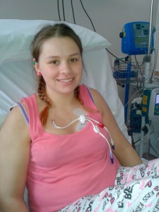 Leah in the Bone Marrow Transplant Unit July 2013